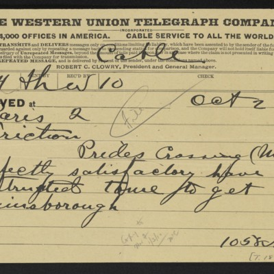 Cable from [M. Knoedler & Co.] to [Henry Clay Frick], 2 October 1909 [front]