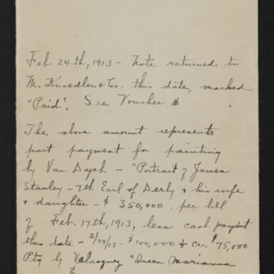 Envelope for $125,000 note of M. Knoedler & Co. due 30 January 1913