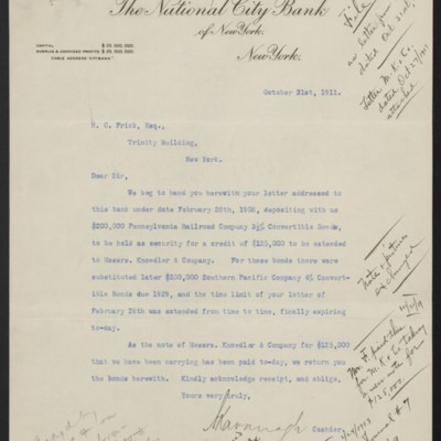Letter from National City Bank to Henry Clay Frick, 31 October 1911