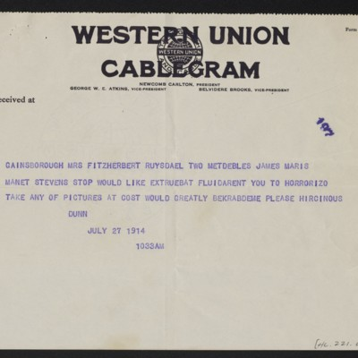 Cable from [James H.] Dunn to H.C. Frick, 27 July 1914 [page 2 of 2]