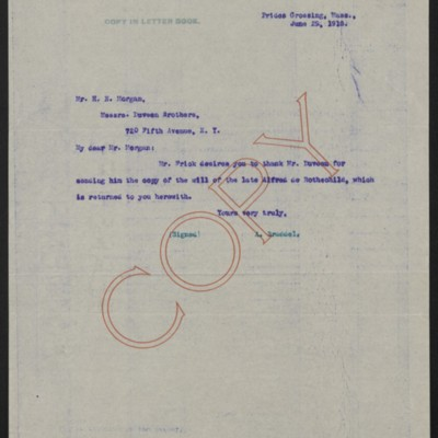 Letter from A. Braddel to H.N. Morgan, 29 June 1918