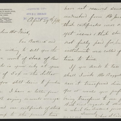 Letter from Charles S. Carstairs to Henry Clay Frick, 29 April 1898