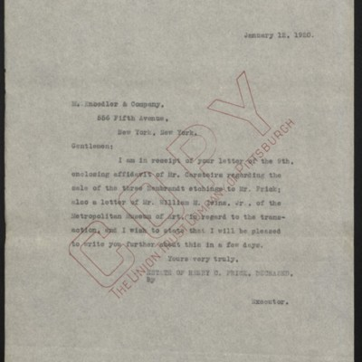 Letter from the Estate of Henry Clay Frick to M. Knoedler & Co., 12 January 1920