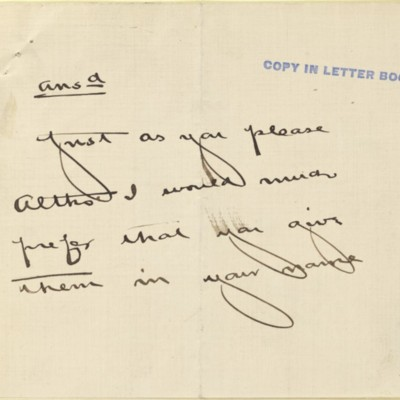 Note from [Henry Clay Frick] to [Joseph Lindon Smith], circa 22 September 1907
