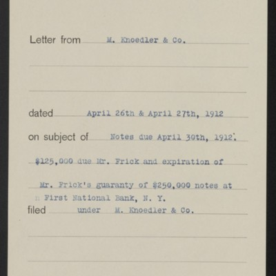 Memorandum, Office of Henry Clay Frick, 1 May 1912