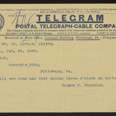 Cable from Roland F. Knoedler to Henry Clay Frick, 28 January 1898