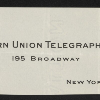 Fragment of stationery of Rush Taggert, Vice President ad General Counsel, Western Union Telegraph Co., 7 March 1918