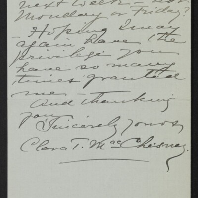 Letter from Clara T. MacChesney to [H.C.] Frick, 28 November 1918 [page 3 of 3]