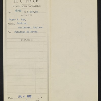 Voucher from Henry Clay Frick to Roger E. Fry, 6 July 1910