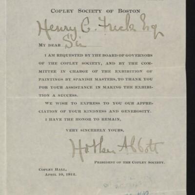 Letter from Holker Abbott to Henry C. Frick, 10 April 1912