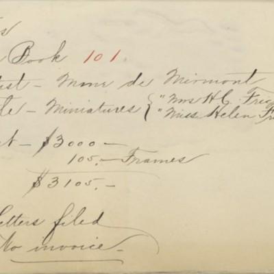 Memorandum prepared by Henry Clay Frick's secretary, circa 1910