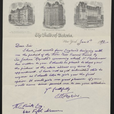 Letter from E. Hodgkins to H.C. Frick, 3 January 1910