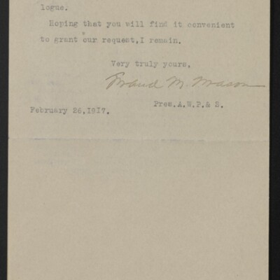 Letter from Maud M. Mason to Henry C. Frick, 26 February 1917 [page 2 of 2]
