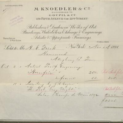 M. Knoedler & Co Invoice, 1 November 1895
