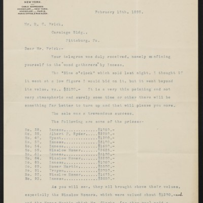 Letter from Charles L. Knoedler to Henry Clay Frick, 15 February 1899