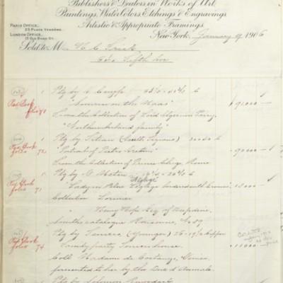 M. Knoedler & Co. Invoice, 9 January 1906