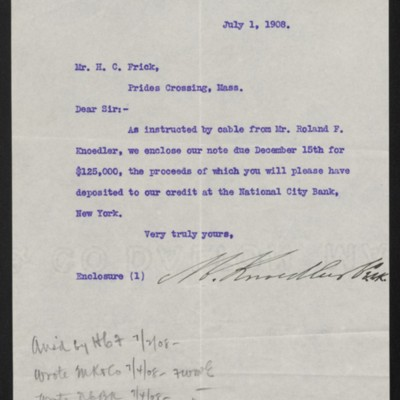 Letter from M. Knoedler & Co. to Henry Clay Frick, 1 July 1908