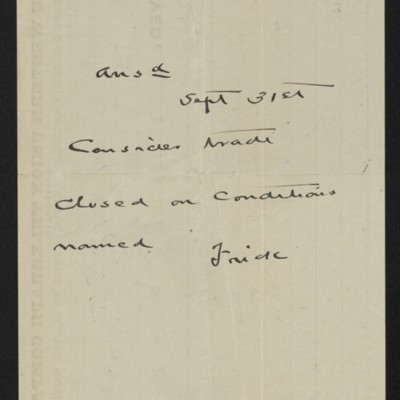 Cable from [Charles S.] Carstairs to [Henry Clay] Frick, 30 August 1906 [back]