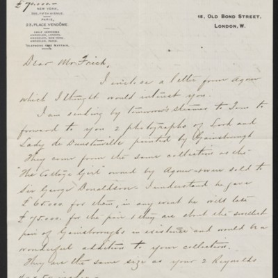 Letter from Charles S. Carstairs to Henry Clay Frick, 15 September 1908