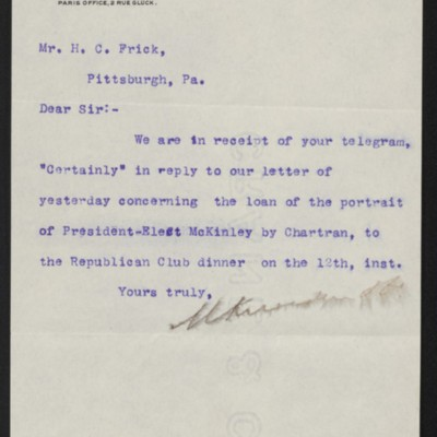 Letter from M. Knoedler & Co. to Henry Clay Frick, 10 February 1897