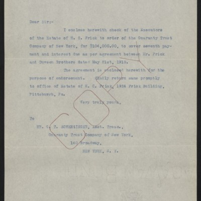 Letter from [Office of Estate of Henry Clay Frick] to G.T. Scherzinger, 30 April 1920