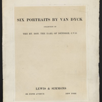 """Six Portraits by Van Dyck,"" brochure published by Lewis & Simmons, [1917]"