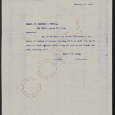 Letter from A. Braddel (secretary to Henry Clay Frick) to M. Knoedler & Co., 10 February 1917