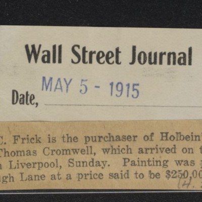 Untitled clipping from Wall Street Journal, 5 May 1915