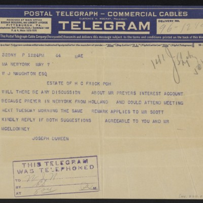 Cable from Joseph Duveen to W.J. Naughton, 7 May 1921