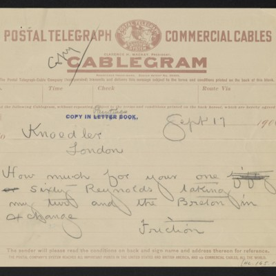 Cable from [Henry Clay Frick] to [Charles S. Carstairs], 17 September 1906 [front]