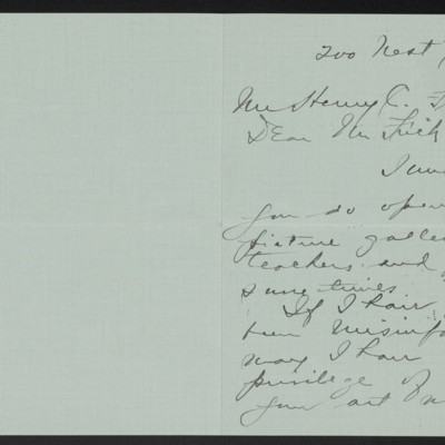 Letter from Annie E.B. Leonard to Henry C. Frick, 21 February 1916 [page 1 of 2]