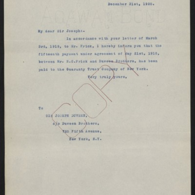 Letter from [Office of the Estate of Henry Clay Frick] to Joseph Duveen, 31 December 1920