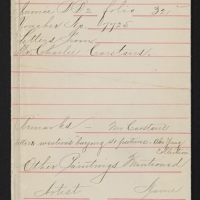 """Draft red envelope for purchase of Corot's """"Le Lac,"""" 1906"""