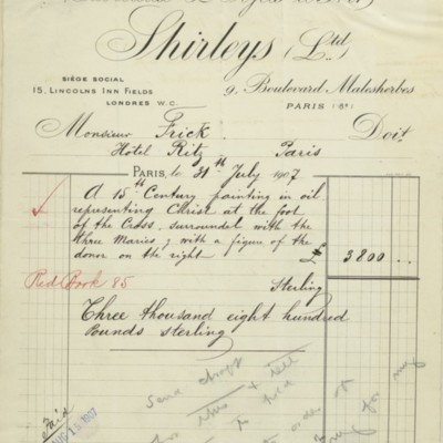 Invoice from Shirleys, Ltd., 31 July 1907