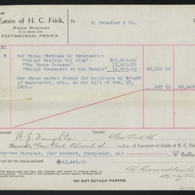 Voucher from the Estate of H.C. Frick to M. Knoedler & Co., 3 March 1920 [back]