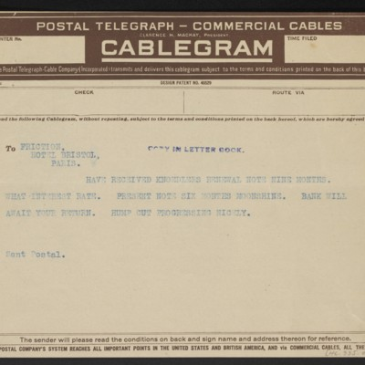 Cable from [F.W. McElroy] to Henry Clay Frick, 27 April 1912