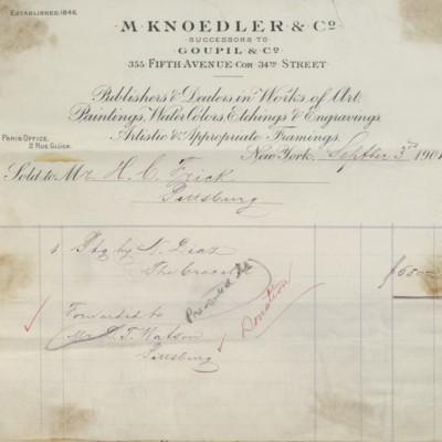 M. Knoedler & Co. Invoice, 3 September 1901