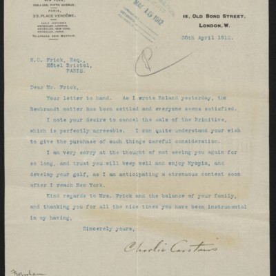 Letter from Charles S. Carstairs to Henry Clay Frick, 30 April 1912