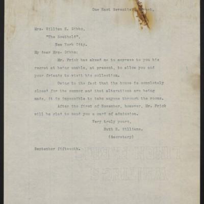 Letter from Ruth E. Williams to Mrs. William E. Gibbs, circa 1915-1917