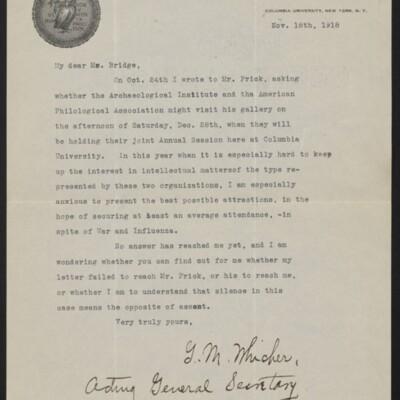 Letter from G.M. Whicher to [J.H.] Bridge, 18 November 1918