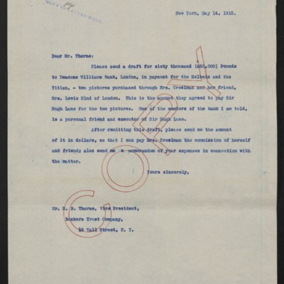 Letter from [Henry Clay Frick] to Bankers Trust Co., 14 May 1915
