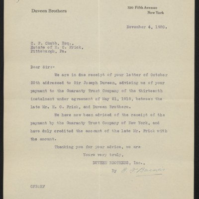 Letter from Duveen Brothers to C.F. Chubb, 4 November 1920