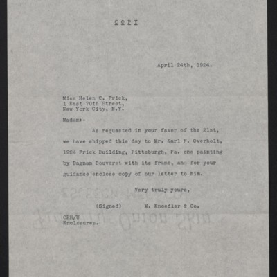 Copy of a letter from M. Knoedler & Co. to Helen Clay Frick, 24 April 1924