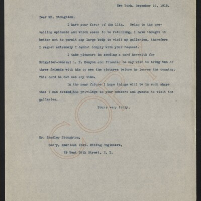 Letter from [Henry Clay Frick] to Bradley Stoughton, 16 December 1918