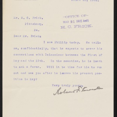 Letter from Roland F. Knoedler to Henry Clay Frick, 20 March 1902