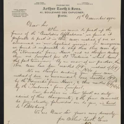 Letter from Arthur Tooth & Sons to Henry Clay Frick, 18 December 1900