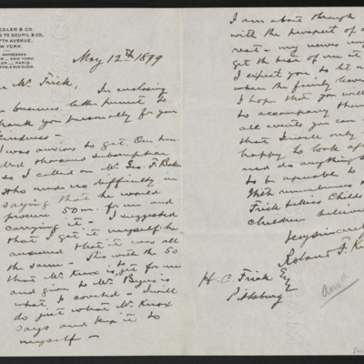 Letter from Roland F. Knoedler to Henry Clay Frick, 12 May 1899