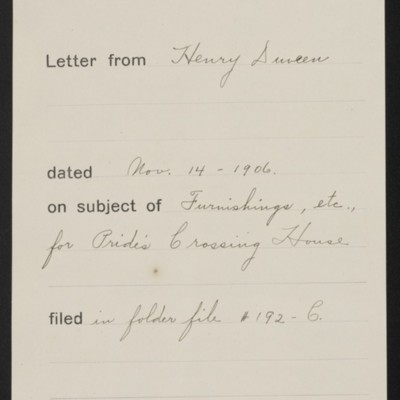 Memorandum, Office of Henry Clay Frick, 14 November 1906