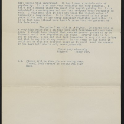Copy of a letter from Roger Fry to Henry Clay Frick, 30 October 1911 [page 2 of 2]