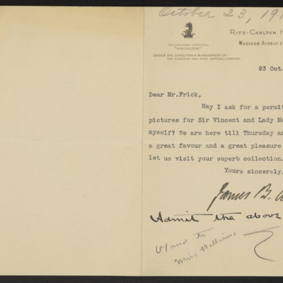 Letter from James B. Allan to [H.C.] Frick, 23 October 1916